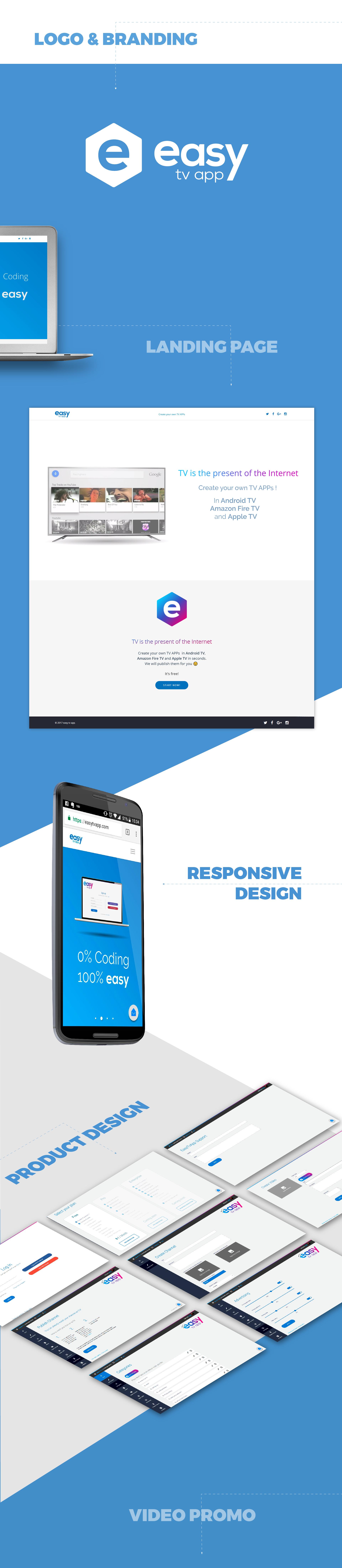 Branding y diseño web para easy tv app por Binarid